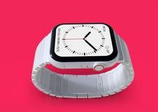 Smartwatch imaginário cerâmico branco do boato do relógio 4 de Apple, modelo ilustração stock
