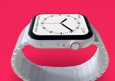 Smartwatch imaginário cerâmico branco do boato do relógio 4 de Apple, modelo ilustração royalty free