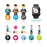 Smartwatch infographic menu connection isolated with icons and p Royalty Free Stock Photography