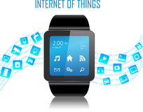Smartwatch and Internet of things concept. Smartwatch with Internet of things (IoT) icons connecting together. Internet networking concept. Application coming Stock Image