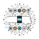 Smartwatch kenmerkt de illustratie van de lijnstijl