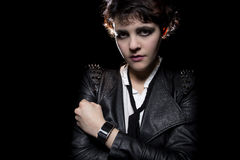 Smartwatch and Leather Jacket Stock Image