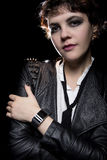 Smartwatch and Leather Jacket Stock Images