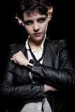 Smartwatch and Leather Jacket Royalty Free Stock Photography