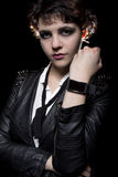 Smartwatch and Leather Jacket Royalty Free Stock Image