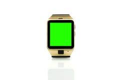 Smartwatch lokalisierte auf weißem Hintergrund mit Farbenreinheitsschlüssel-Grünschirm Stockfotografie