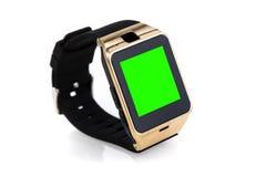 Smartwatch lokalisierte auf weißem Hintergrund mit Farbenreinheitsschlüssel-Grünschirm Stockfotos