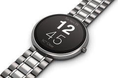 Smartwatch luxuoso de aço inoxidável Imagens de Stock Royalty Free