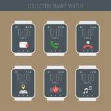 Smartwatch med den fastställda illustrationen för symboler Royaltyfria Bilder
