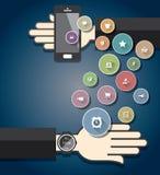 Smartwatch med färgrika Ecommercesymboler Royaltyfria Foton