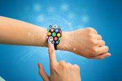 Smartwatch met toepassingspictogrammen Royalty-vrije Stock Foto