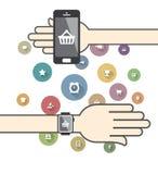 Smartwatch mit bunten Ikonen des elektronischen Geschäftsverkehrs Lizenzfreies Stockbild