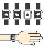 Smartwatch mit Ikonen Stockbild