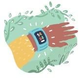 Smartwatch noszony akcesorium dla timekeepnig ilustracji