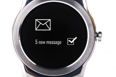Smartwatch notification. Smartwatch with 5 new message notification isolated on white background Royalty Free Stock Image