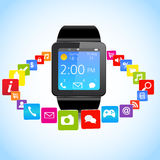 Smartwatch och applikationsymboler Stock Illustrationer