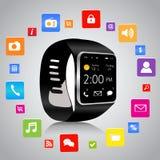 Smartwatch och applikationsymboler royaltyfri illustrationer