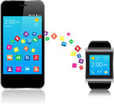 Smartwatch och Smart telefon Vektor Illustrationer