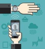 Smartwatch och smartphonekommunikation Arkivfoton