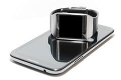 Smartwatch and phablet isolated Royalty Free Stock Image