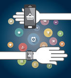 Smartwatch and Smart phone with Icons Stock Images