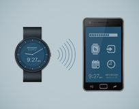 Smartwatch and smartphone communication Royalty Free Stock Images