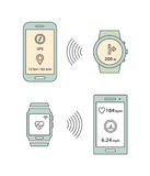 Smartwatch and smartphone communication. Smartphone sending message with GPS position to smartwatch. Vector illustration Royalty Free Stock Image
