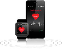 Smartwatch and Smartphone with health apps Stock Photos