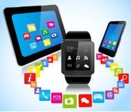 Smartwatch smartphoneminnestavla och apps vektor illustrationer