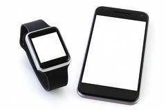 Smartwatch sport with smartphone on white Royalty Free Stock Photography