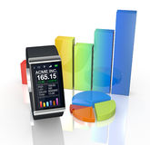 Smartwatch and stock market Stock Photography