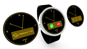 Smartwatch with watchfaces Royalty Free Stock Photos
