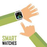 Smartwatch on a wrist. Fitness tracker application Royalty Free Stock Photography