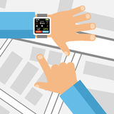 Smartwatch on a wrist. Fitness tracker application Stock Images