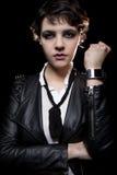 Smartwatch y chaqueta de cuero Fotografía de archivo libre de regalías