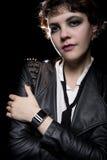 Smartwatch y chaqueta de cuero Imagenes de archivo