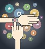 Smartwatch z Kolorowymi Ecommerce ikonami Zdjęcie Stock