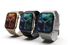 3 smartwatches - Jabłczany zegarek 4, srebro, złocisty i czarny, na bielu zdjęcie royalty free