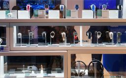 Smartwatches shown at mobile world congress 2019. Many smartwatch models are shown during mobile world congress in Barcelona stock photography
