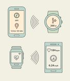 Smartwatches and smartphones communication Royalty Free Stock Image