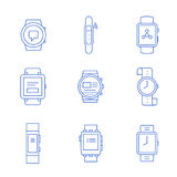 Smartwatches - wearable technology. Smart watches linear icon set. Wearable electronic devices. Simple outlined icons. Linear style Stock Image