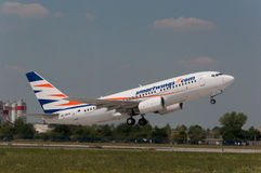 Smartwing Boeing B737. Taking off at Prague airport Stock Photo