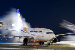 Smartwings. PRAGUE, CZECH REPUBLIC - JANUARY 21: Smart Wings Boeing 737-7Q8 during de-icing at PRG Airport on January 21, 2016.Smart Wings is a brand of the Royalty Free Stock Photos