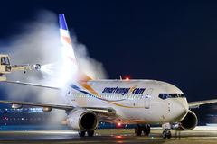 Smartwings. PRAGUE, CZECH REPUBLIC - JANUARY 21: Smart Wings Boeing 737-7Q8 during de-icing at PRG Airport on January 21, 2016.Smart Wings is a brand of the Stock Images