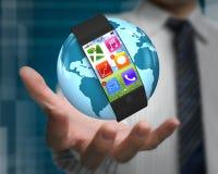 Smarwatch ultrasottile sul globo in mano dell'uomo Fotografia Stock