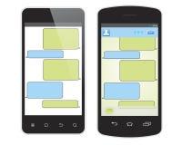 Smas e telefone celular isolados no branco Fotos de Stock Royalty Free