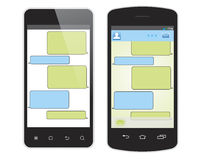Smas y teléfono móvil aislados en blanco Fotos de archivo libres de regalías