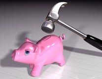 Smash the piggy Royalty Free Stock Photos