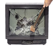 Smash the TV screen hammer. Blow stock image