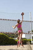 Smash. Woman jumping. Volleyball Stock Image